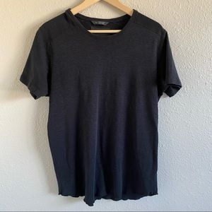 Wings + Horns Black Textured CrewNeck Knit T Shirt